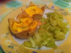 Flan di gorgonzola con sedano al mandarino