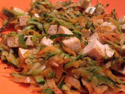 Tofu con julienne di verdure